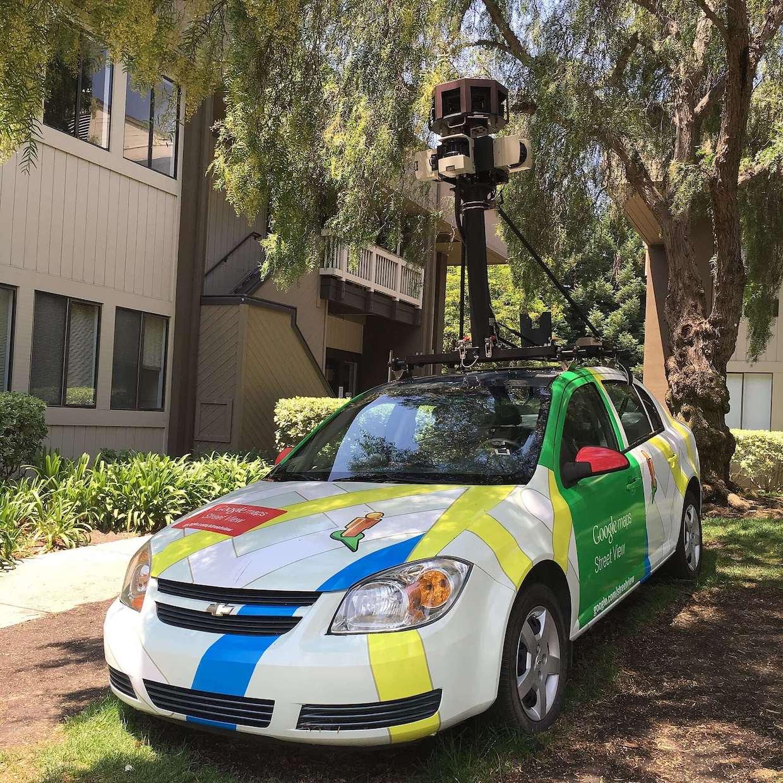 An image of a Google Maps car outside Googleplex