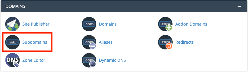 The subdomain feature within a website's cPanel