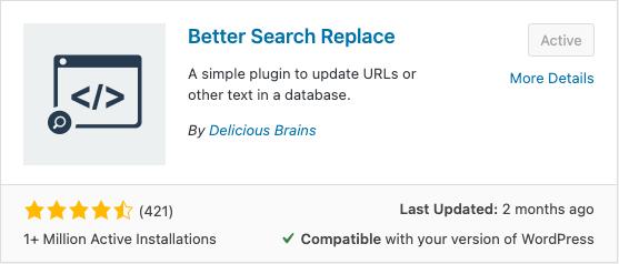 Better Search Replace Plugin Screenshot