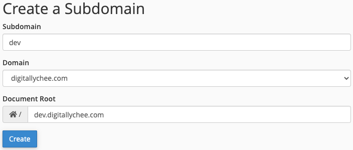 Creating a subdomain in cPanel