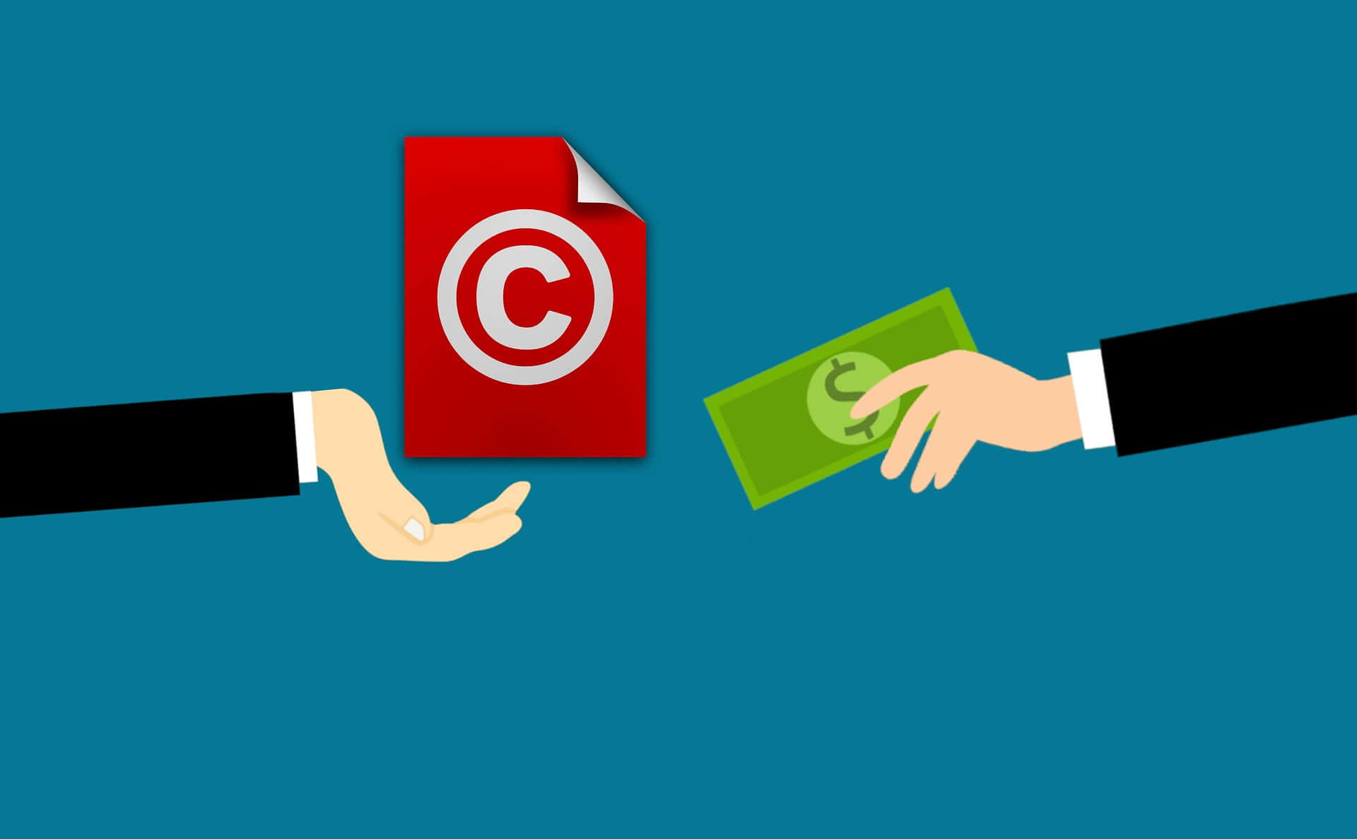 Clipart of a person handing money to someone, to use their copyrighted content