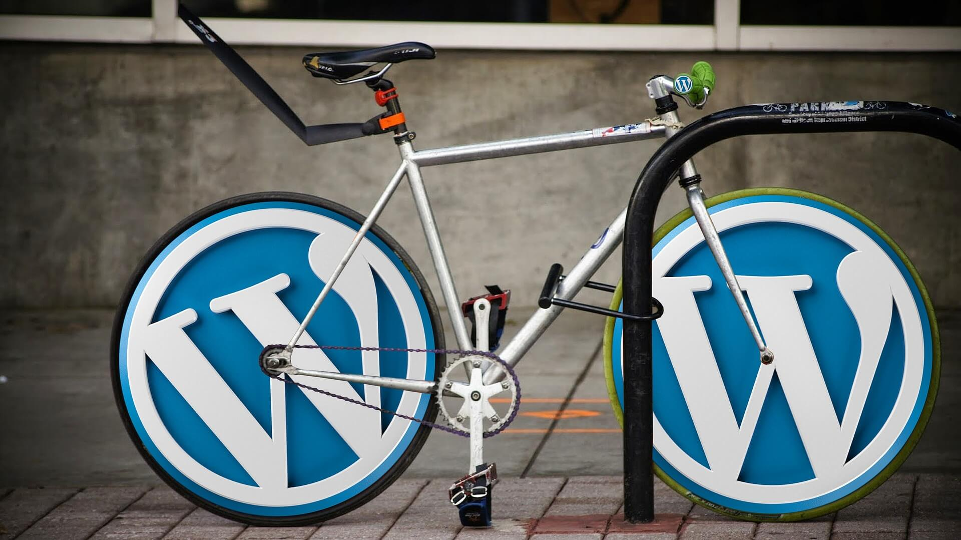 Bicycle with WordPress logo for wheels